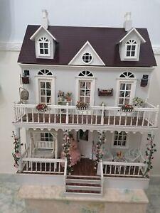 1:12 Scala triangolare bianco /& MOTIVO FLOREALE VASO IN CERAMICA tumdee casa delle bambole W94c
