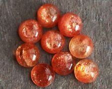 3X3MM TO 10X10MM NATURAL RED SUNSTONE ROUND SHAPE CABOCHON LOOSE GEMSTONE