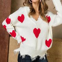 Womens Sweater Pullover Knitwear  V-Neck Tassel Long Sleeve Casual Heart Pattern