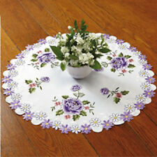 """Round Purple Roses Table Topper Doily  24"""" Diameter Embroidery NEW! MACHINE WASH"""