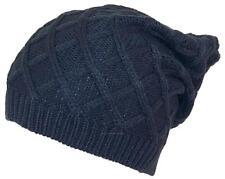 D&Y Rib Stitch Diamond Pattern Slouchy Knit Beanie, Toboggan, Snow, #846 Gray