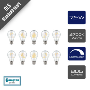 Pack of 10 x Crompton LED Dimmable Filament GLS Light Bulb Clear 7.5W B22 BC 270