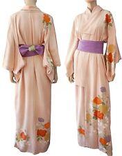 JAPANESE Vintage Kimono Pale Pink Floral Metallic Silk Crepe Robe RARE PRISTINE