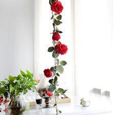 Artificial Fake Silk Rose Flower Ivy Vine Hanging Garland Wedding Decor Red 1.8M