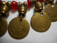 "Vintage Gypsy real Coin Dangle Necklace choker Red Art Glass 16.5"" asjustable"