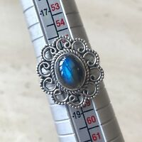 STUNNING BLUE FIRE LABRADORITE & 925 STERLING SILVER RING UK SIZE Q