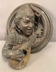 LG Antique VICTORIAN BRONZED Spelter BLACKAMOOR MUSICIAN Sculpture WALL PLAQUE