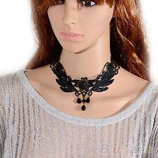 Women Black Rose Teardrop Bead Pendant Lace Choker Lolita Collar Necklace Newest