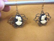 (CAE1-2) RARE African American LADY black + ivory CAMEO dangle Earrings JEWELRY