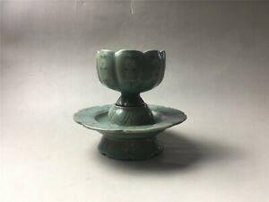 A set of rare Korea porcelain cyan glaze flower design teabowl