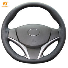 Black Genuine Leather Steering Wheel Cover Wrap for Toyota Vios 2014-2016