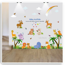 Animal Wall Stickers Zoo Jungle Safari Tree Nursery Baby Kids Room Decal Art