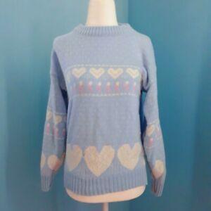 Spunky Vintage 80s Pastel Blue Fairy Kei Kawaii Heart Pattern Knit Sweater