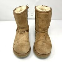 Womens UGG Australia Classic Short Sheepskin Boots Size 4 Tan Brown Shoes
