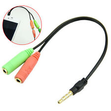 PC Headset To Smartphone Adapter Dual 3.5mm Male to Female Splitter Cable DT#