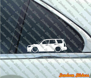 2x Lowered car  stickers -for Subaru Forester STi ( SG / Facelift 2006+ ) L997