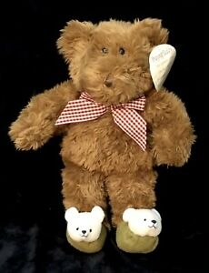 Avon Prayer Teddy Bear Slippers Now I Lay Plush Stuffed Brown Praying Vtg 1999