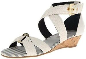 Sperry Top Sider Alvina Strappy Woven Leather Wedge Sandals Ivory Size 10