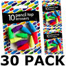 30 PACK PENCIL TOP ERASERS RUBBERS SCHOOL OFFICE ART WRITING DRAWING STUDENT HB