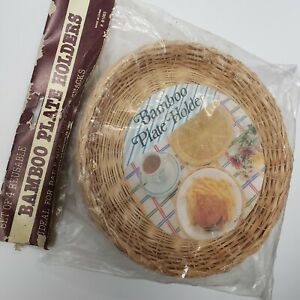 Vintage Wall Bamboo Wicker Rattan Reusable Plate Holders Unopened Set of 4 10 in