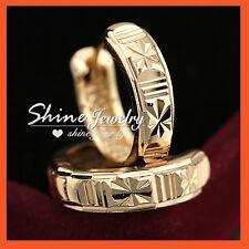18K CHAMPAGNE GOLD GF DIAMOND CUT MENS WOMENS 19mm SOLID HOOP SLEEPER EARRINGS