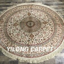 Yilong 6'x6' Round Classic Silk Area Rug Circular Hand Knotted Silk Carpets 043M
