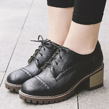 Women Flats Oxford Brogue College Block Heel Round Toe Lace Up Creepers Shoes