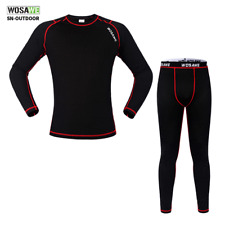 Men's Long Sleeve Underwear Thermal Fleece Base Layer Cycling Jersey Pants Set