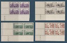 timbre France bloc de 4 coin daté  secours national  1940  num: 466/69  **