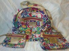 Coach Poppy Signature Pop C Glam multi-color canvas Backpack,Wristlet, Crossbody