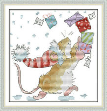 CHRISTMAS MOUSE COUNTED CROSS STITCH KIT 14 COUNT AIDA 19x19CM