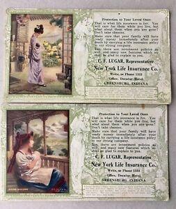 (2) New York Life Insurance Postcard Size Advertising Ink Blotter-Greensburg, IN