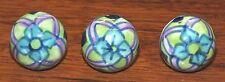 (3) Ceramic White, Green & Blue Floral Round Cabinet Door Knobs / Handles Set!