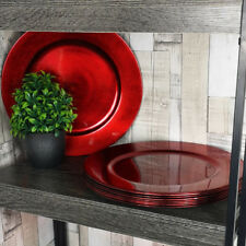Set Of 6 Red Effect Charger Plates Round Table Placemats Centerpieces Decor