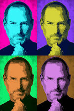 STEVE JOBS celebrity GENIUS pop art POSTER multiple images 24X36 COLORFUL