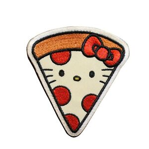 Hello Kitty Pizza Embroidered Iron On Patch - Officially Licensed 008-A