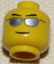 LEGO NEW MINIFIGURE POILCE HEAD SILVER SUNGLASSES FIREMAN SMILE MINIFIG FACE