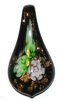 P1215 Green Flower Gold Sparkle Black Lampwork Glass Teardrop Spoon Drop Pendant