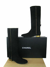 CHANEL Suede  CC Logo Knee High Boots NIB  sz  41
