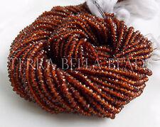 "13"" strand AAA HESSONITE GARNET faceted gem stone rondelle beads 3mm"