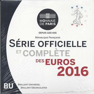 Francia 2016 Cartera oficial  8 valores @ Flor de cuño @