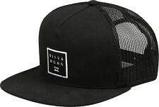 BILLABONG MENS BASEBALL CAP.NEW STACKED TRUCKER FLAT PEAK BLACK MESH HAT 8W 2 19