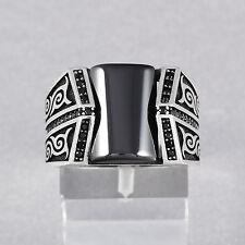 Oriental Style Handmade Silver Mens Ring Black Onyx Size 7.5 - 12 US