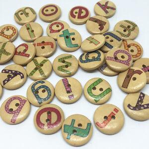 bouton lettre alphabet en bois 2 trous 15 mm scrapbooking couture art créatif
