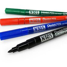 Pentel N50S Fin Permanent Marqueur – 3.18mm Mine Bille – 1 de Chaque Couleur