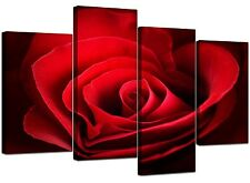Shabby Chic Large Red Rose Heart Canvas Pictures 130cm XL Set Art 4044