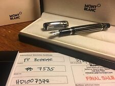 NEW Montblanc Boheme Platinum Lacquer White Crystal Gemstone Fountain Pen 7535 M