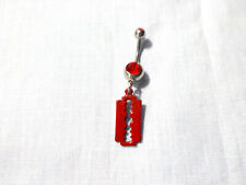 Charm 14G Red Cz Belly Ring Barbell New Hand Enamel Blood Red Razor Blade