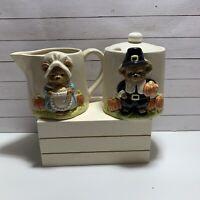 Vintage Otagiri Japan Pilgrim Bears Thanksgiving Cream And Sugar Bowl