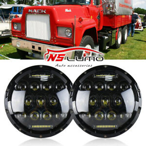 DOT 7''Inch Round LED Headlights Sealed Hi/Lo Beam with DRL For Mack R Series